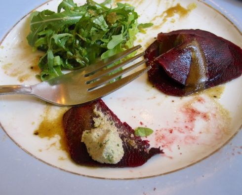 rawesome beet ravioli with cashew cheese and arugula salad at Coach & Horses in London