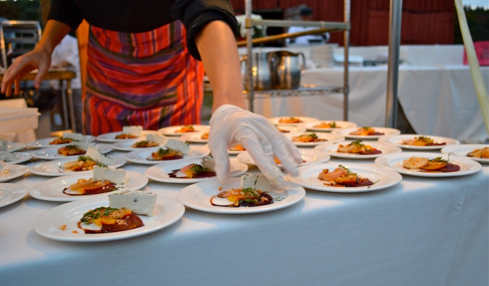 plating the amuse bouche- roasted beets, smoked cashews & my homemade herbed cashew brie