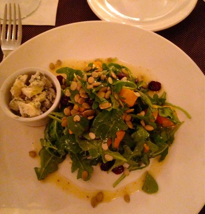 roasted squash & arugula salad with toasted pumpkin seeds