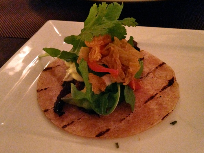barbecued portobello and kimchee raw korean tacos